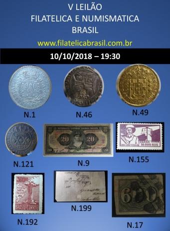 V LEILÃO DE COLECIONISMO FILATÉLICA E NUMISMÁTICA BRASIL
