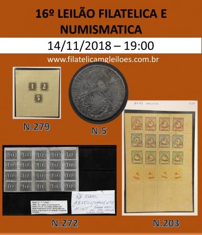 16º Leilão de Filatelia e Numismática Filatélica MG Leilões