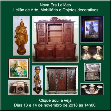 LEILÃO DE ARTE, REMANESCENTES E OBJETOS DECORATIVOS - 13 e 14/11/2018