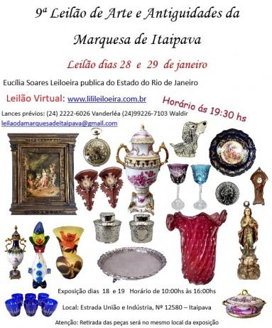 9º LEILÃO DE ARTE E ANTIGUIDADES MARQUESA DE ITAIPAVA