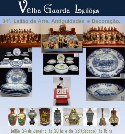34º LEILÃO VELHA GUARDA LEILÕES - Arte, Antiguidades, Decorações e Colecionismo.
