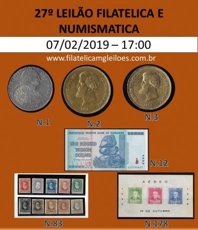 27º Leilão de Filatelia e Numismática Filatélica MG Leilões