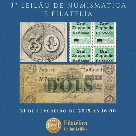 3º LEILÃO DE NUMISMÁTICA E FILATELIA - FILATÉLICA ONLINE LEILÕES