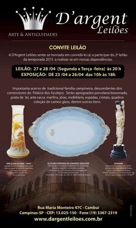 LEILÃO RESIDENCIAL: FAMÍLIA FERREIRA PENTEADO  - ACERVO  PALÁCIO DOS AZULEJOS