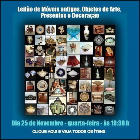 LEILÃO DE MOVEIS ANTIGOS, ARTES, PRESENTES E DECORAÇÃO