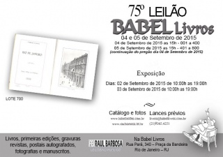 BABEL 75º LEILÃO DE LIVROS, DOCUMENTOS RAROS E CURIOSIDADES - BIBLIOTECA ELYSIO BELCHIOR