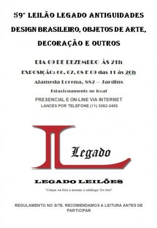 59º LEILÃO - DESIGN BRASILEIRO, OBJETOS DE ARTE, DECORAÇÃO E OUTROS - 09/12/2015