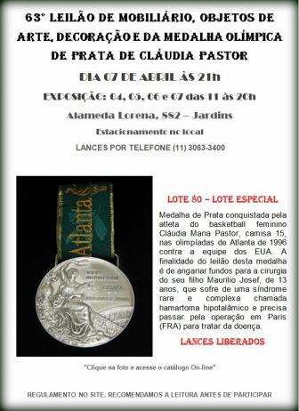 63º LEILÃO DE MOBILIÁRIO, OBJETOS DE ARTE, DECORAÇÃO E DA MEDALHA OLÍMPICA  DE PRATA