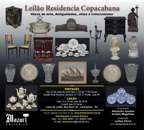 LEILÃO RESIDENCIAL COPACABANA - OBRAS DE ARTE, ANTIGUIDADES E COLECIONISMO