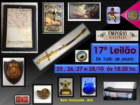 17º LEILÃO DE TUDO UM POUCO - ARTES, NUMISMÁTICA, MÓVEIS E COLECIONISMO  MG