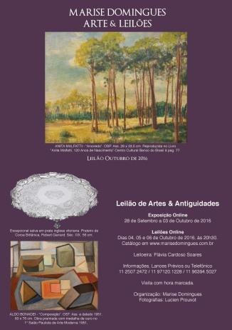 1º LEILÃO DE ARTE E ANTIGUIDADES MARISE DOMINGUES. Tels. (11) 2338-7797 ou (11) 97120-1228.