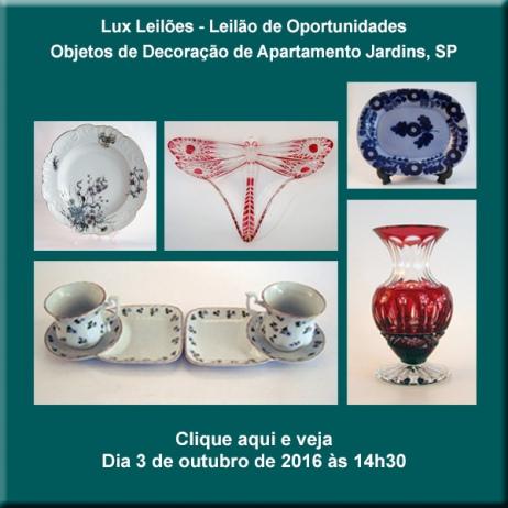 LUX LEILÕES - Leilão de Oportunidades - Objetos de decoração de apartamento Jardins, SP - 3/10/2016