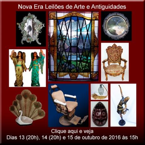 Leilão Residencial de Arte, Antiguidades e Curiosidades - Nova Era Leilões - de 13 a 15/10/2016