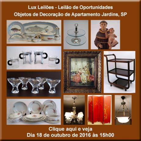 LUX LEILÕES - Leilão de Oportunidades - Objetos de decoração de apartamento Jardins, SP - 18/10/2016