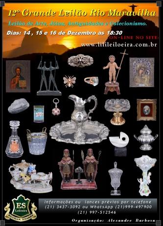 12 º Leilão de Artes, Joias e Colecionismo Rio Maravilha.