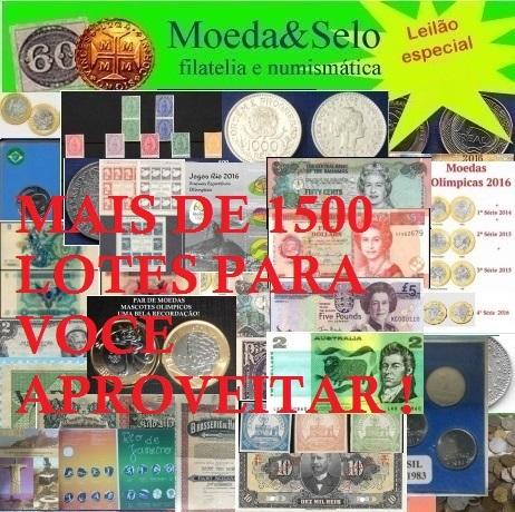 140 LEILÃO MOEDA E SELO DE PASCOA 70% DOS LOTES ABAIXO DE R$ 10 REAIS NO LANCE !