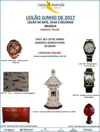 LEILÃO DE ARTE, JOIAS E RELÓGIOS (TAG HEUER, ROLEX,  VIVARA, OMEGA, Cuervo y Sobrinos, H.STERN..)