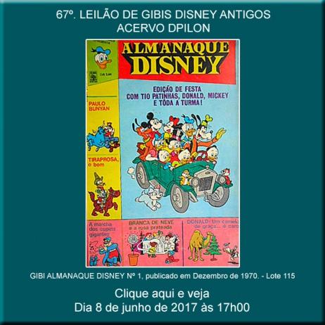 67º LEILÃO DE GIBIS DISNEY ANTIGOS  (décadas de 60 e 70) - 8 de Junho