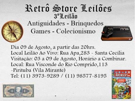 3º Leilão de Antiguidades - Brinquedos - Games - Colecionismo