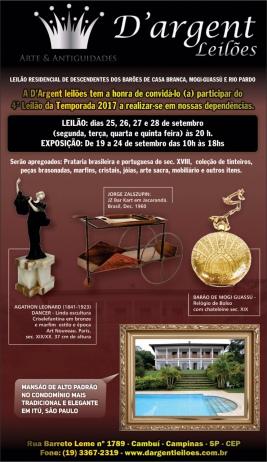 LEILÃO RESIDENCIAL DE DESCENDENTES DOS BARÕES DE CASA BRANCA, MOGI-GUASSÚ E  RIO PARDO