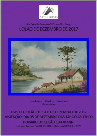 LEILÃO DE DEZEMBRO DE 2017 - ESCULTURAS, QUADROS, GRAVURAS E CURIOSIDADES