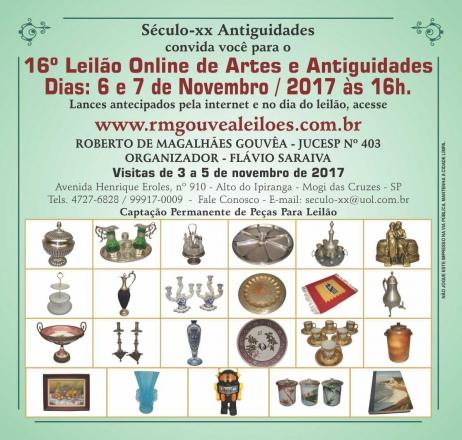 16º Leilão de Arte e Antiguidades - SÉCULO XX  - 6 e 7/11/2017