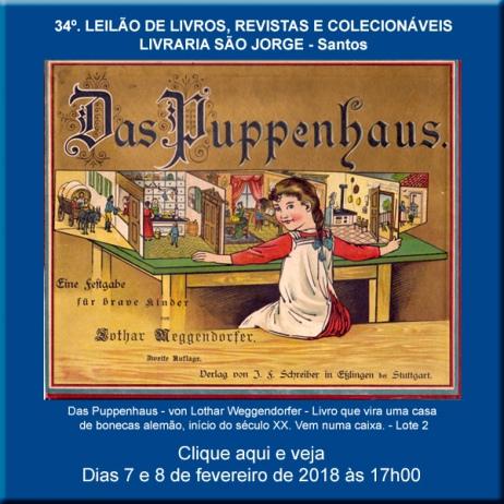 34º. Leilão de Livros, Revistas e Colecionáveis - Livraria São Jorge - Santos 7 e 8/02/2018