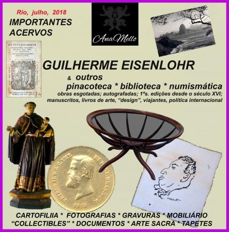 LEILÃO acervo GUILHERME EISENLOHR; arte, numismática, antiguidades & collectibles