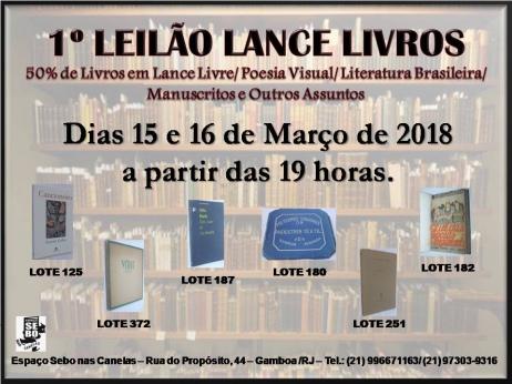 1º LEILÃO LANCE LIVROS-50% dos Livros em Lance Livre/ Poesia Visual/ Literatura Brasileira e Outros