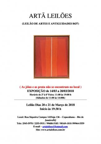 ARTÃ LEILÕES - LEILÃO DE ARTES E ANTIGUIDADES Nº 8437 - PARTE DO ESPÓLIO DE ANTÓNIO S. CHAMPALIMAUD
