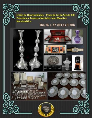 Leilão Oportunidades-Século XIX Prata de Lei, Porcelana Noritake, Faqueiros,Joias,Móveis,Numismática