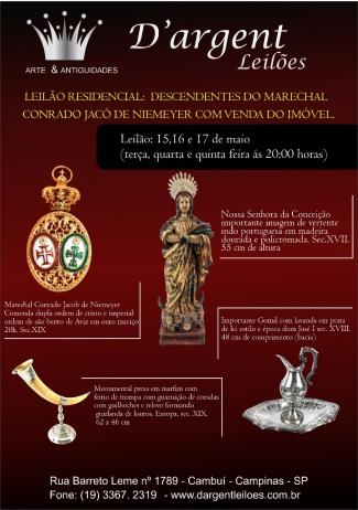 LEILÃO RESIDENCIAL:  DESCENDENTES DO MARECHAL CONRADO JACOB DE NIEMEYER com VENDA DO IMÓVEL