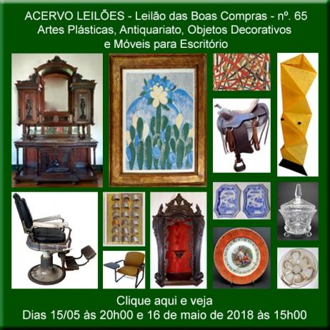 LEILÃO DAS BOAS COMPRAS nº 65 - ACERVO LEILÕES - SP - 15 e 16/05/2018