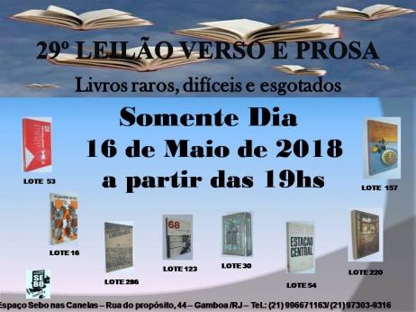 29º LEILÃO VERSO E PROSA - LIVROS RAROS, DIFÍCEIS E ESGOTADOS