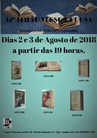 32º LEILÃO VERSO E PROSA - LIVROS RAROS, DIFÍCEIS E ESGOTADOS