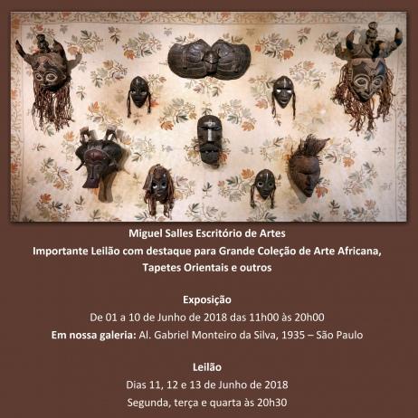 Importante Leilão com destaque para Grande Coleção de Arte Africana, Tapetes Orientais e outros