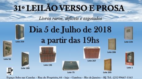 31º LEILÃO VERSO E PROSA - LIVROS RAROS, DIFÍCEIS E ESGOTADOS