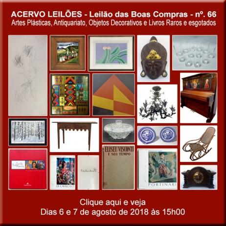 LEILÃO DAS BOAS COMPRAS nº 66 - ACERVO LEILÕES - SP - 25 e 26/07/2018