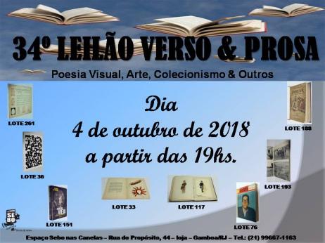 34º LEILÃO VERSO & PROSA - Livros raros, esgotados e difíceis