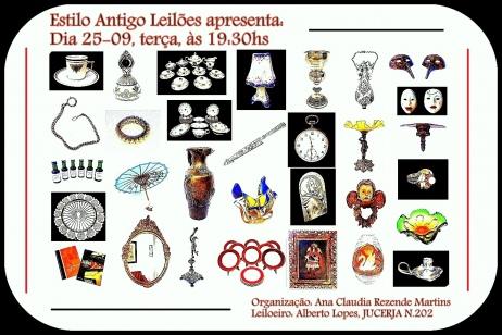 LEILÃO COM PEÇAS RESIDENCIAIS DE ANTIGUIDADES, ARTE, COLECIONISMO E DECORAÇÃO