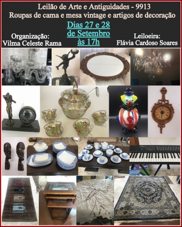 LEILÃO DE Antiguidades,roupas de cama e mesa vintage e artigos de decoraçao