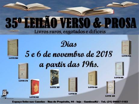 35º LEILÃO VERSO & PROSA - LIVROS RAROS, DIFÍCEIS E ESGOTADOS