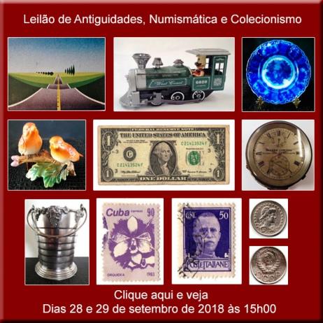 Leilão de Antiguidades, Numismática e Colecionismo - 28 e 29/09/2018